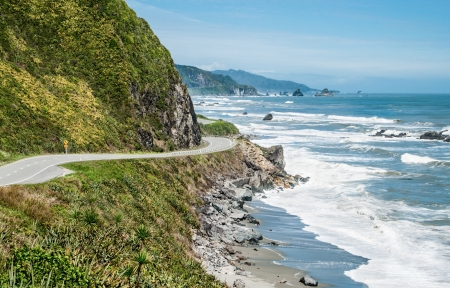 New Zealand Coastal Highway   A scenic road winds along the western shore of New Zealands South Island
