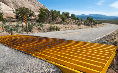cattle grid: Cattle Guard   A metal grill set into the pavement on a country road allows cars to cross but prevents cattle from leaving an open range area  Stock Photo