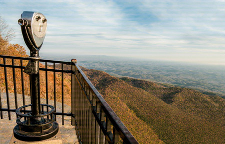 Scenic Overlook Viewer:  A binocular scope on a high rocky ledge offers a spectacular view of the Appalachian Mountains on an autumn day in western South Carolina.