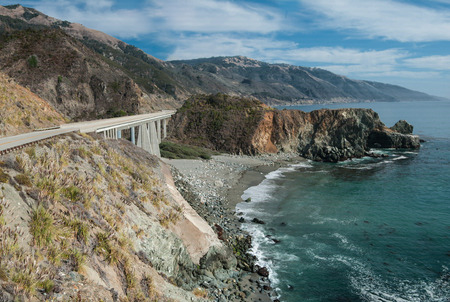 coastal erosion: California Coastal Road:  California Highway 1 spans a gap in the rocky coastline and passes close to the Pacific shore near Big Sur.
