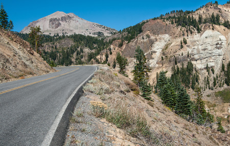crater highlands: Volcanic Park Road:  A narrow road climbs toward Lassen Peak along the inner wall of an ancient collapsed volcano in Lassen Volcanic Park.