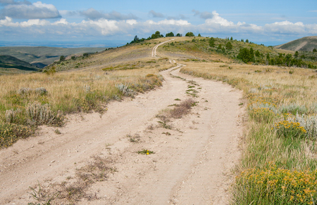 dirt road recreation: Dirt Road in Wyoming:  A truck trail leads into the hills of southwest Wyoming.