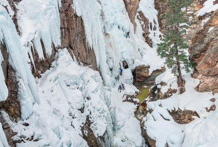 ouray: Ice Climbing Cliffs Stock Photo
