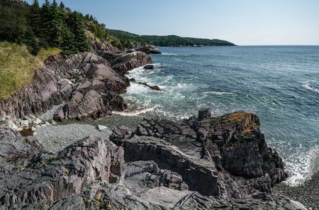 Rocky Shoreline in Newfoundland:  A view of Admiral's Cove on the eastern shore of Newfoundland south of St. John's. Stock Photo