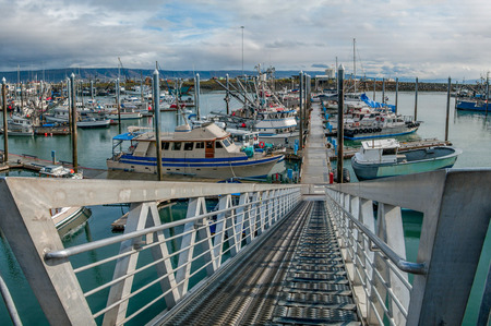 Alaska Marina Entrance:  A steep ramp leads to floating docks that accommodate the large tide shifts at Homer, Alaska.