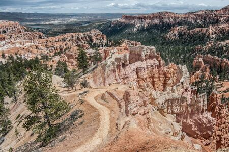 Canyon Hiking Trail:  A winding pathway follows the top of a rocky ridge in Bryce Canyon National Park.