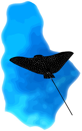 bat ray at a coral reef Illustration