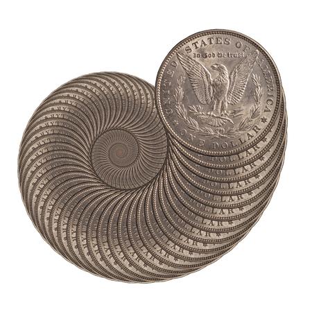 silver coins: snail from a silver coins of a Morgan dollar Stock Photo