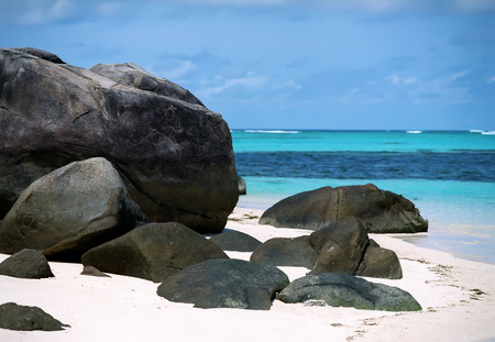 beautiful sea view with stones on the island Round, Seychelles Stock Photo