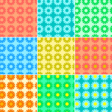 set of different color fractals and elements of rotation and torsion Illustration