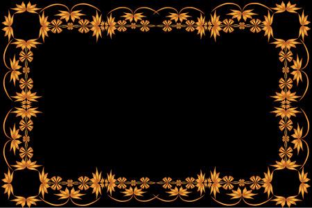 rectangular frame of painted ornament on a black background Illustration