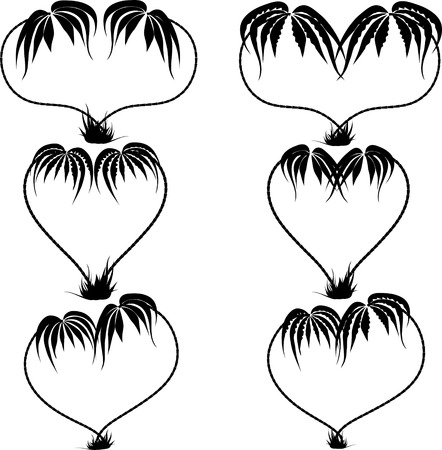 large group of objects: silhouette drawing of two palm trees in the form of heart on the isolated background