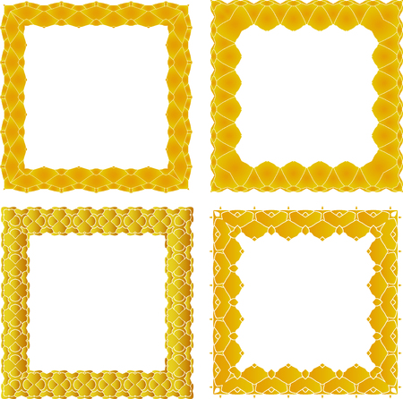 set of square frame of painted ornament on a white background
