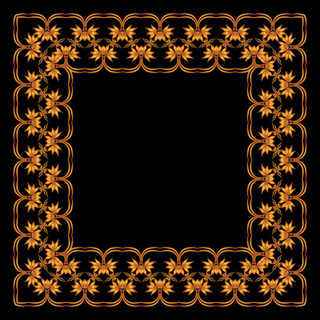 square frame of painted ornament on a black background Illustration