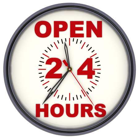 Open 24 Hours Clock 免版税图像