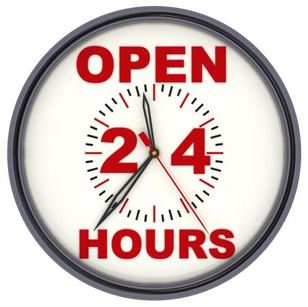 Open 24 Hours Clock Banque d'images