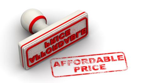 Erschwinglichen Preis. Seal und Impressum Standard-Bild - 34604983