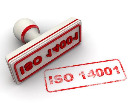 ISO 14001 Siegel und Impressum Standard-Bild - 34728079