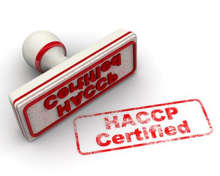 HACCP zertifiziert. Seal und Impressum Standard-Bild - 34866888