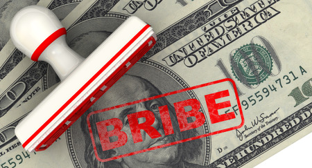 imprint: Bribe. Seal and imprint on American banknote Stock Photo