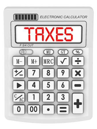 conscription: Taxes. Inscription on the electronic calculator