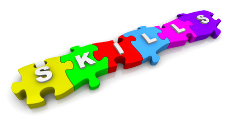 compiled: Skills. Inscription on the multicolored puzzles Stock Photo