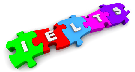 compiled: IELTS. Inscription on the multicolored puzzles