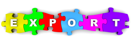 compiled: Export. Inscription on the multicolored puzzles Stock Photo