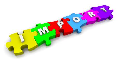 Import. Inscription on the multicolored puzzles Фото со стока - 38497325