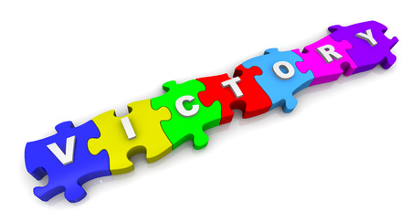 compiled: Victory. Inscription on the multicolored puzzles Stock Photo