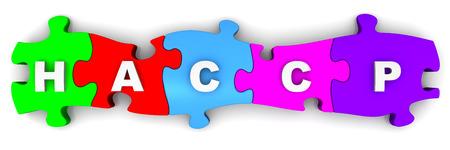 HACCP Abkürzung auf Puzzles Standard-Bild - 38490076