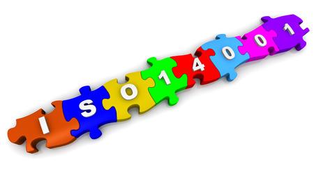 ISO 14001 Abkürzung auf Puzzles Standard-Bild - 38486201