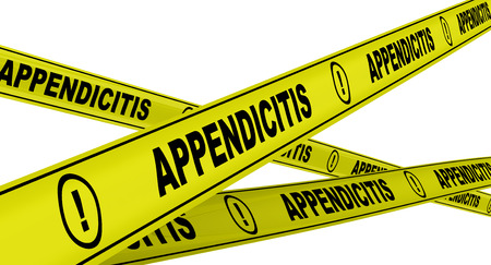 cecum: Appendicitis. Yellow warning tapes