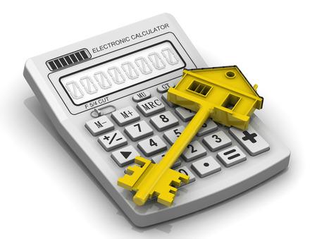 Der Schlüssel der Immobilie liegt auf elektronischen Taschenrechner Standard-Bild - 39265700