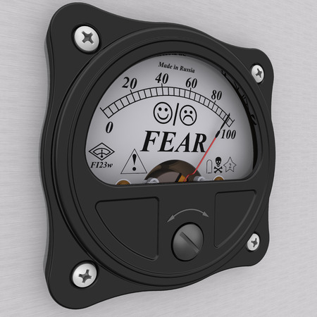premonition: The indicator showing the amount of FEAR. Concept. isolated