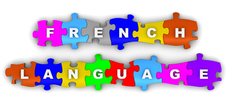 compiled: French language. Inscription on the multicolored puzzles