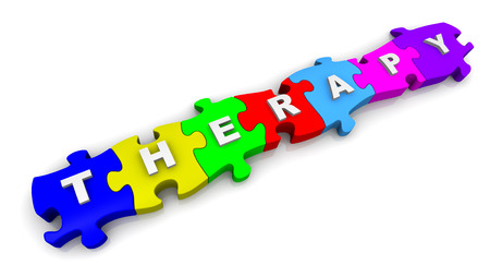 compiled: Therapy. Word on puzzles Stock Photo