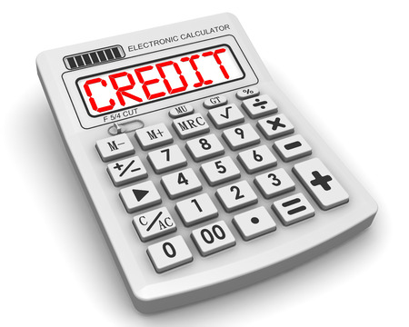 profiting: Credit. The inscription on display of calculator Stock Photo