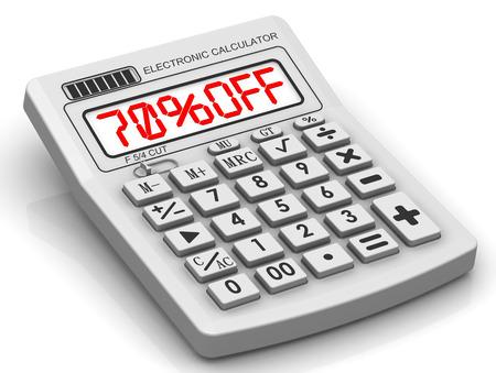 70: Discount 70 percent. Concept