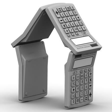 calculadora: Casa compuesta de calculadoras Foto de archivo