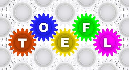 TOEFL. Abkürzung auf die Zahnräder Standard-Bild - 40020784