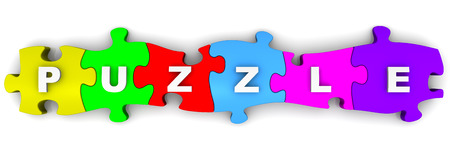 compiled: Puzzle. Word on puzzles Stock Photo