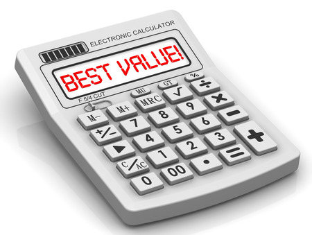 BEST VALUE. The inscription on display of calculator