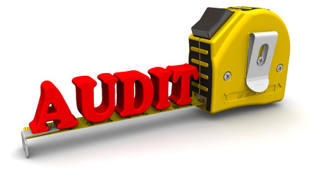 financial audit: Yardstick measures the word AUDIT Stock Photo