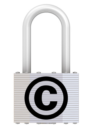 Padlock with the symbol of copyright protection photo
