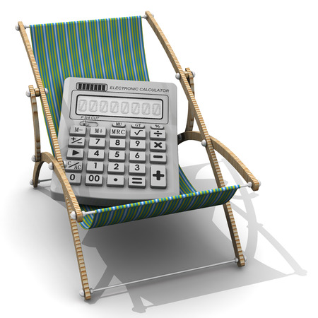 lounger: Calculator lying on lounger Stock Photo