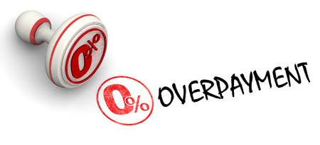 red seal: Zero percent overpayment. Red seal and imprint. Financial concept. Stock Photo