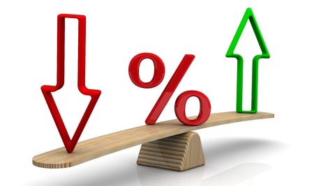 rates: Changes in interest rates. Concept Stock Photo