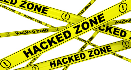hacked: Hacked zone. Yellow warning tapes. Isolated