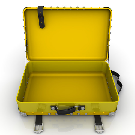 open suitcase: Open yellow suitcase on a white surface